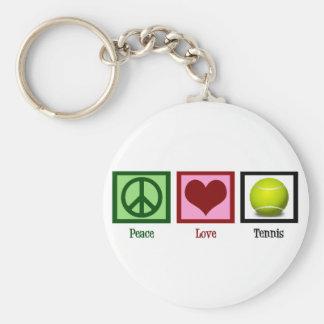 Peace Love Tennis Basic Round Button Keychain