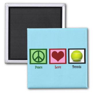 Peace Love Tennis Blue Magnet