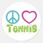 Peace Love Tennis Classic Round Sticker