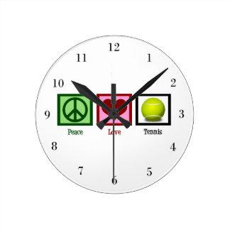 Peace Love Tennis Round Wall Clock