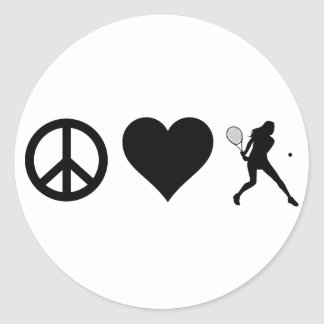 Peace Love Tennis (Female) Classic Round Sticker