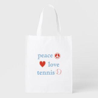 Peace Love Tennis Grocery Bags