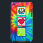 "Peace, Love, Tennis iPod Touch Case<br><div class=""desc"">You will love this groovy tie dye &quot;peace, love&quot; Tennis ball; tennis player design. Great for gifts! Available on tee shirts, smart phone cases, mousepads, keychains, posters, cards, electronic covers, computer laptop / notebook sleeves, caps, mugs, and more! Visit our site for a custom gift case for Samsung Galaxy S3,...</div>"
