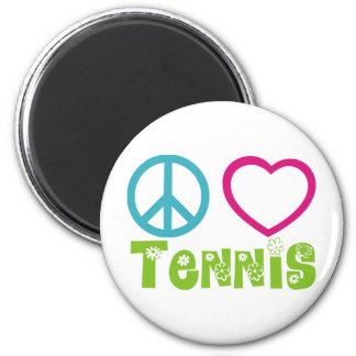 Peace Love Tennis 2 Inch Round Magnet