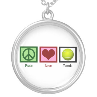 Peace Love Tennis Round Pendant Necklace