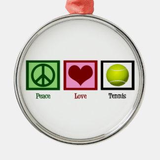 Peace Love Tennis Round Metal Christmas Ornament