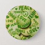 Peace Love Tennis Pinback Button