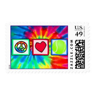 Peace, Love, Tennis Postage Stamp