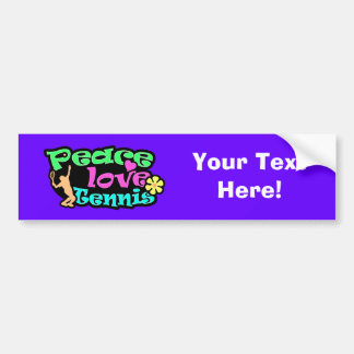 Peace, Love, Tennis; Retro Car Bumper Sticker
