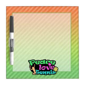 Peace, Love, Tennis; Retro Dry-Erase Board
