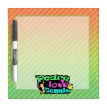 Peace, Love, Tennis; Retro Dry-Erase Whiteboards