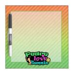 Peace, Love, Tennis; Retro Dry-Erase Whiteboards