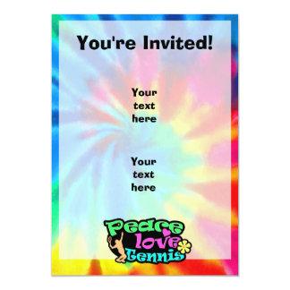Peace, Love, Tennis; Retro 5x7 Paper Invitation Card
