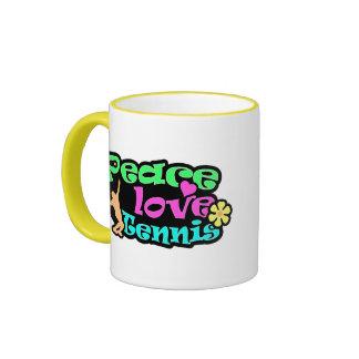 Peace, Love, Tennis; Retro Ringer Coffee Mug