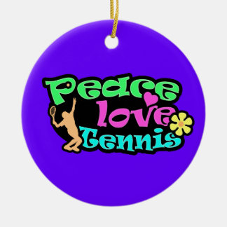 Peace, Love, Tennis; Retro Christmas Tree Ornament