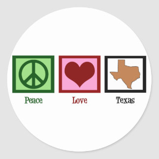 Peace Love Texas Round Stickers