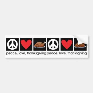 Peace, Love, Thanksgiving bumper sticker