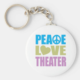 Peace Love Theater Basic Round Button Keychain