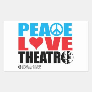 Peace Love Theatre Rectangular Sticker