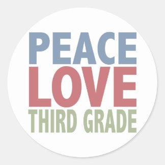 Peace Love Third Grade Classic Round Sticker