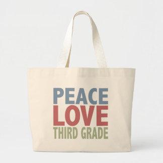 Peace Love Third Grade Large Tote Bag