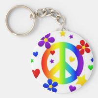 PEACE LOVE TIE DYE HIPPIE SYMBOL KEYCHAIN