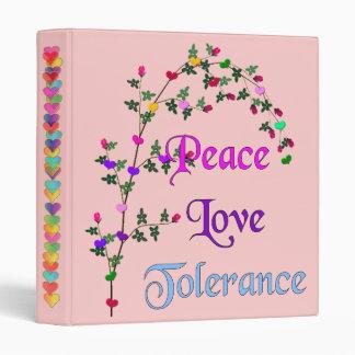 Peace Love Tolerance 3 Ring Binder