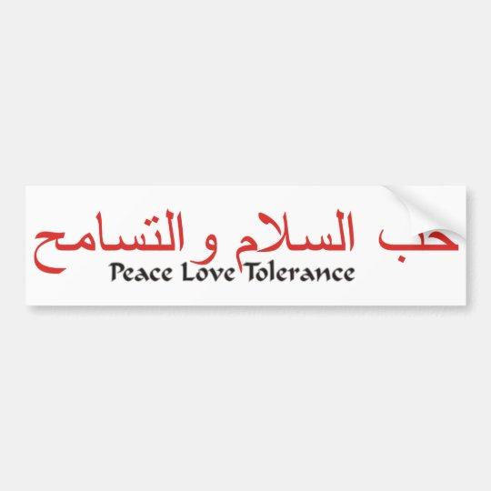 Peace Love Tolerance Bumper Sticker Zazzle Com