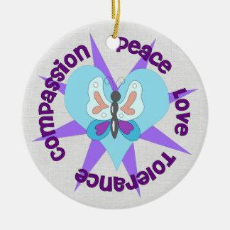 Peace Love Tolerance Compassion Ceramic Ornament