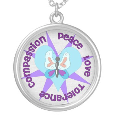 Peace Love Tolerance Compassion Personalized Necklace by orsobear