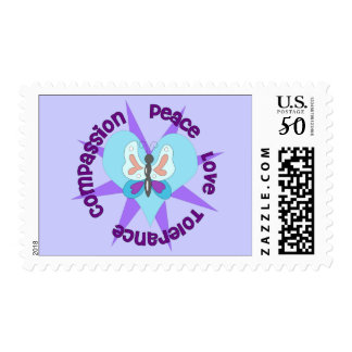 Peace Love Tolerance Compassion Postage