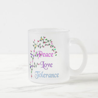 Peace Love Tolerance Frosted Glass Coffee Mug