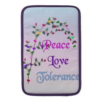 Peace Love Tolerance MacBook Sleeves