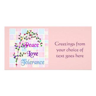 Peace Love Tolerance Custom Photo Card