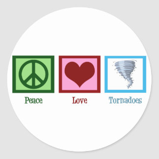 Peace Love Tornadoes Classic Round Sticker