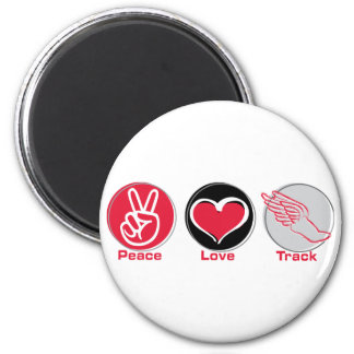 Peace Love Track 2 Inch Round Magnet