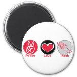 Peace Love Track Refrigerator Magnet