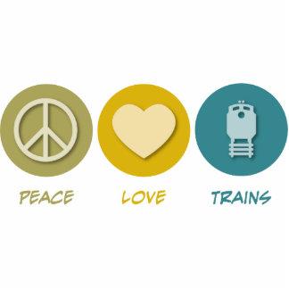 Peace Love Trains Photo Sculpture Ornament