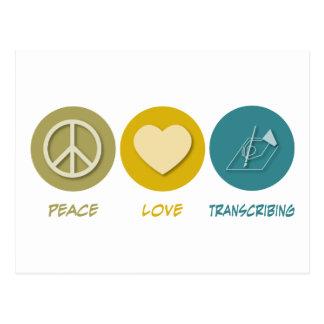 Peace Love Transcribing Postcard