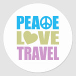 Peace Love Travel Classic Round Sticker