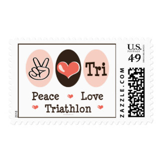 Peace Love Tri Postage Stamps