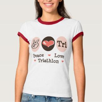 Peace Love Tri Ringer T-shirt