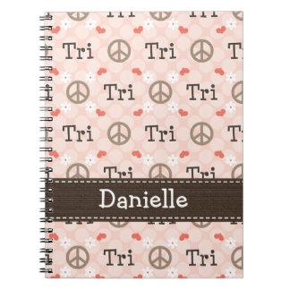 Peace Love Tri Triathlon Spiral Notebook Jour