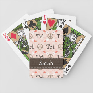 Peace Love Triathlon Bicycle Playing Cards