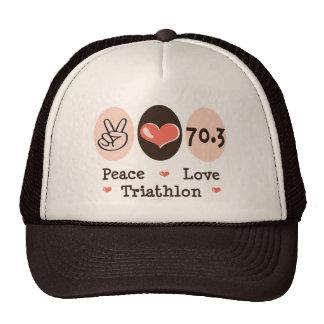 Peace Love Triathlon Cap Mesh Hats
