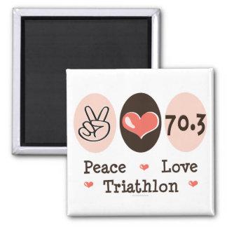 Peace Love Triathlon Magnet