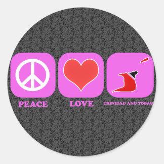 Peace Love Trinidad And Tobago Round Sticker