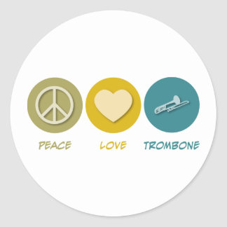 Peace Love Trombone Classic Round Sticker