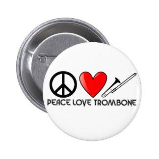 Peace, Love, Trombone Pinback Button