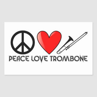 Peace, Love, Trombone Rectangular Sticker